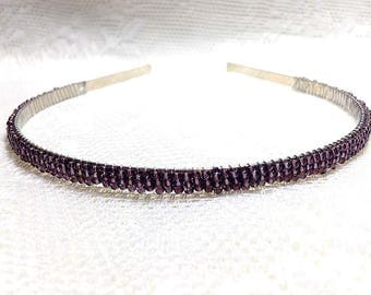 Purple Beaded Headband Tiara - Alice Hair Band - Sparkle Collection (Limited Edition) HB5SSL-21