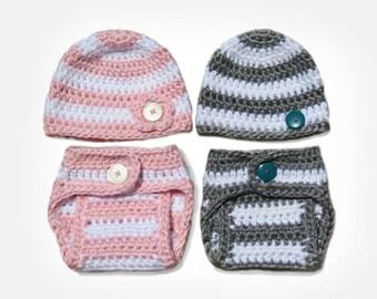 Crochet Diaper Cover Pattern and Crochet Hat Pattern - Newborn Photo Prop - Soaker Pattern - Crochet Patterns by Deborah O'Leary