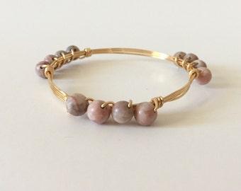 Pink Zebra Jasper Stone Wire Wrapped Bangle Bracelet