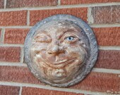 Ceramic Winking Moon Face / Home or Garden Wall Decor / Original Pottery Mask