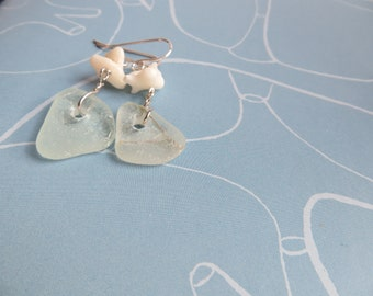 Rough coral silver seaglass earrings RAW white coral earrings 925 silver gift dangle bohemian beachie hippie artisan earrings