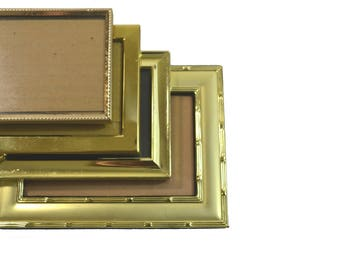 Vintage Brass Picture Frames Gold Picture Frames Small Picture Frames Wedding Décor Wedding Frames Set of 4