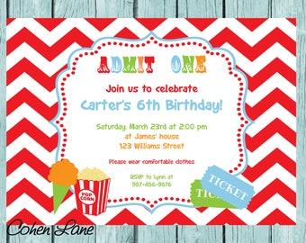 Custom Printable Circus Birthday Invitation.  Carnival Invite.  Circus Party Invitation. Chevron Circus Party Invite.  Carnival party.