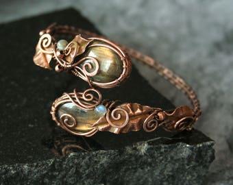 Summer Leaves - golden labradorite copper wire wrapped bangle bracelet