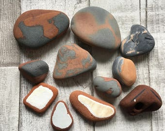 Naturally Patterned Beach Pebbles Terracotta,Beach Pottery - Decorative Beach Decor