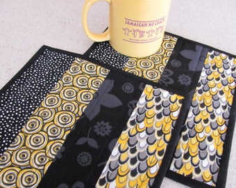 Quilted Mug Rugs Yellow Grey and Black Contemporary Fabrics Black Tone on Tone Accent Fabric Cottage Chic Quilting Design Two Snack Mats