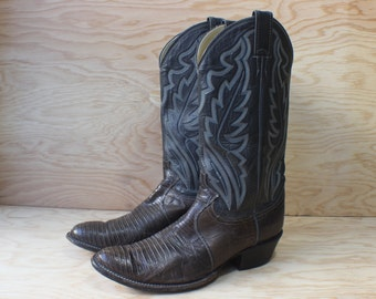 Size 9 1/2 Men's Cowboy BOOTS / Vintage Western Boots / Size 11 Women's Shoes / Lizard and Leather