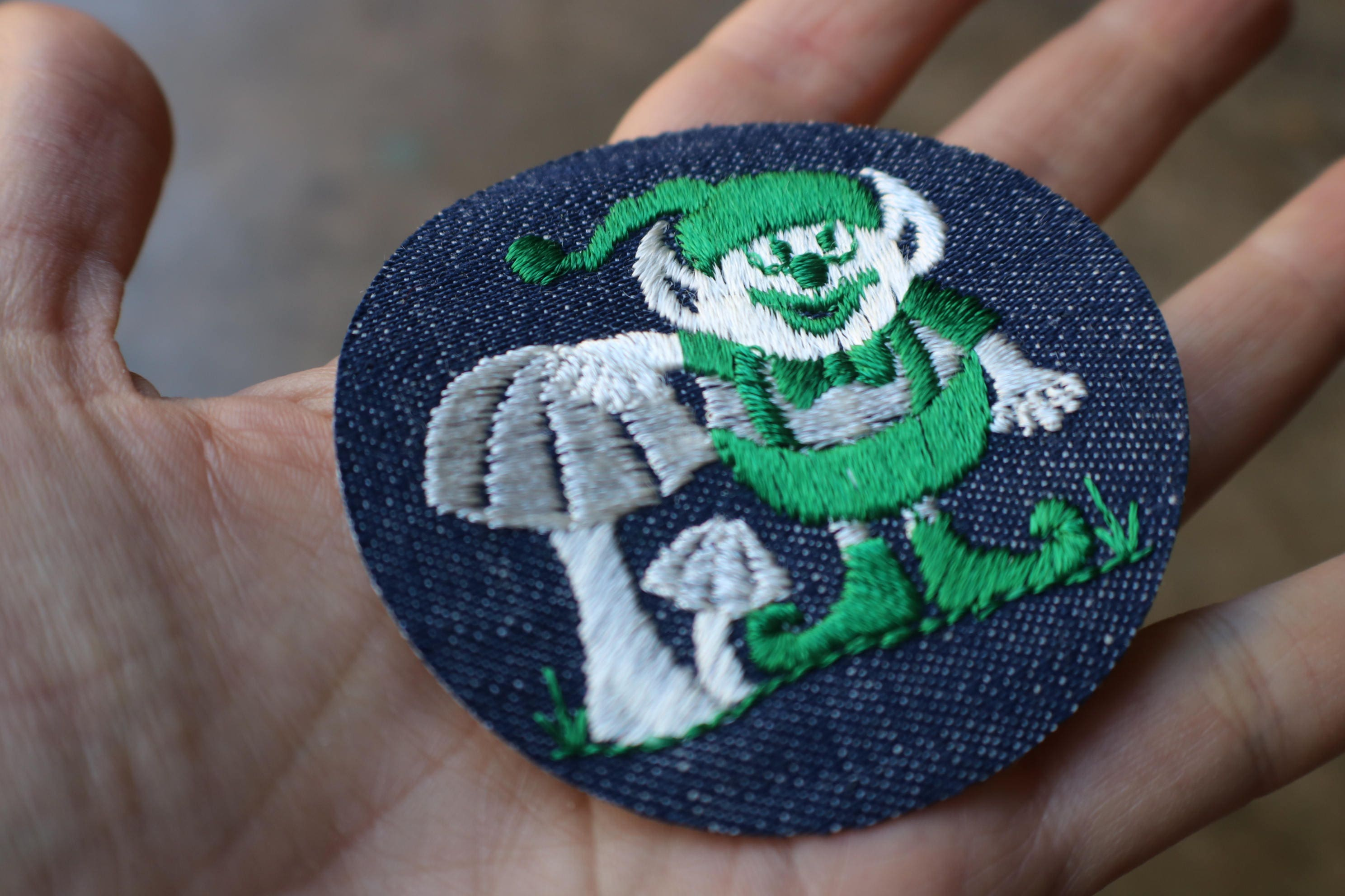 Troll Patch / Vintage Dead Stock Hippy Embroidered Patch / Iron On Vintage  Mushroom Patch