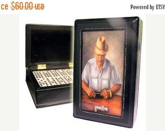 ON SALE Special Offer !!!.  Dominoes Double Six in Leather Case w/Artworks on top.