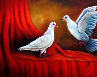 """Oil paintings on canvas 16"""" x 20"""" """"Love is in the Air"""" . Price Reduce"""