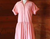 30% OFF SALE SALE / vintage Oscar de la Renta for Swirl pink cotton dress / size medium