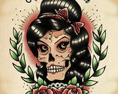 Amy Winehouse Skull Tattoo Art Print Tattoo acrylic paint Amy Winehouse Tattoo Flash Art Print by Leisha Ganbatte