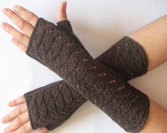 Brown Fingerless Gloves Long Mittens Arm Warmers Acrylic Wool