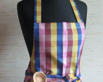 Linen Kitchen Utility Apron Womens Aprons for women Valentines Day Easter Apron Teachers Apron Checked Pink Yellow Blue