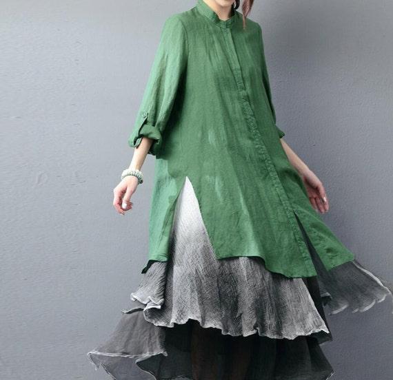 Women linen Clothing Asymmetric long sleeved shirt Dark green shirt