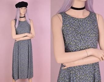 90s Floral Print Sleeveless Dress/ Medium/ 1990s