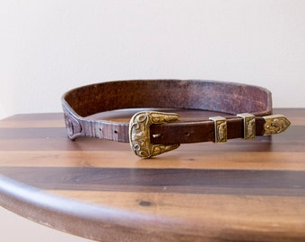 50s 60s La Nell Hand Tooled Leather Western Belt Size Small