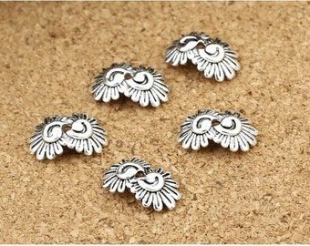 10pcs 12mm 925 Sterling Silver Daisy Bead Caps / Findings, Antique Silver  Flower Bead Cap