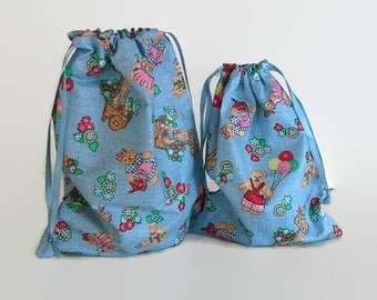 2 Eco Friendly Fabric Gift Bags Teddy Bears on Blue, Eco Friendly  Upcycled Reusable 8 X 10 and 6 1/2  X 8