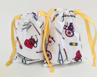 Cute Medical Theme Drawstring Fabric Gift Bag Upcycled, Reusable, Nurse, Doctor, Sick Child
