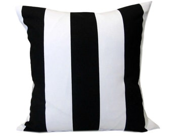 Black and White Striped Pillow Cover, Accent Pillow, Toss Pillow, Vertical Stripe, Various Sizes