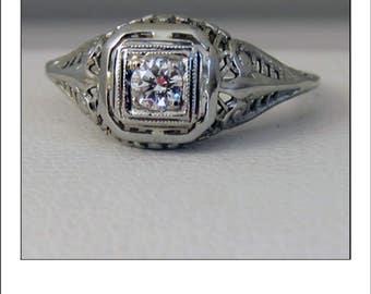 Antique Art Deco 18k  Diamond Filigree Engagement Ring