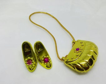Barbie Party Shoes and Purse  Fashion Barbie Doll shoes Gold and pink Accessories
