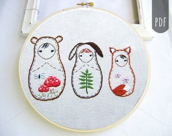 PDF Embroidery Pattern,  Matryoshka,  Nesting Doll, Woodland Friends Bear Bunny Fox