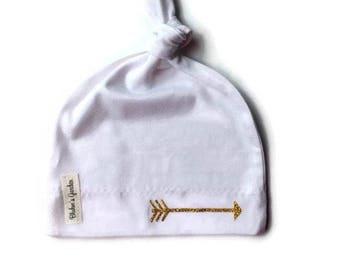White Newborn Hat/ Baby Girl Hat/ Organic Cotton Hat/ Baby Knotted Hat/ Knotted Cap/ Organic Cotton Baby Hat/ Newborn Infant Hat /Gold arrow