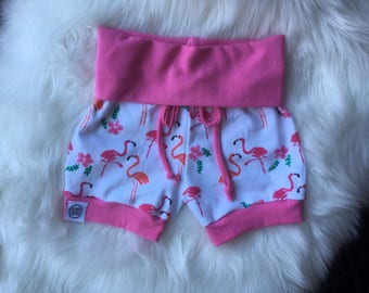 Jersey knit baby harem shorts/ cuff shorts/ summer shorts/ baby shorts/ fold over shorts/ toddler shorts/ flamingo shorts