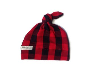 Jersey knit baby knotted hat/infant/baby/toddler/red and black checkered/lumberjack