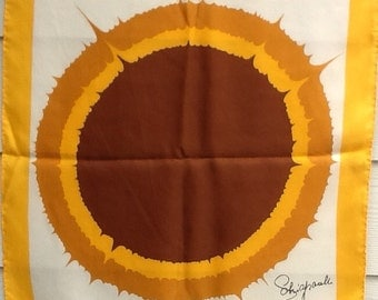 Schiaparelli vintage 60s silk scarf sunflower gold brown mod