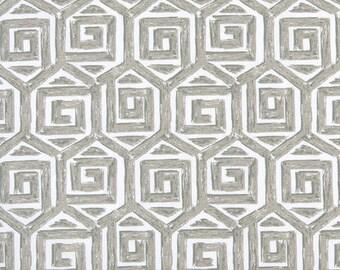 Two  96 x 50 Custom Curtain Panels  - Geometric Greek Key Grey