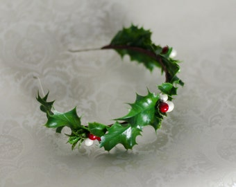 Holiday Headband Green Holly with Red & White Berries Hair Accessory