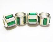2 Glass Baguette Wheels, European Charm Bracelet Beads, Emerald- Christmas Green w/ Iridescent White Spacer or Focal Bead