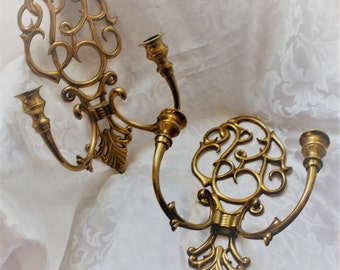 Matching Pair Of Heavy Cast Brass Candle Wall Sconces