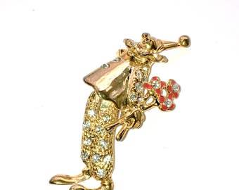 Articulated Clown with Flowers Rhinestone Brooch Fun Fashion Figural Jewelry