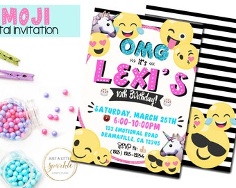 Emoji invitation, Emoji invite, Emoji Party Printables, Emoji Printables, Digital Emoji Invitation