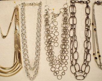 5 Vintage Heavy Multi Strand Chain Necklaces