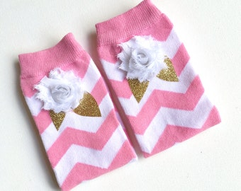 Pink and White Chevron Legwarmers with appliqued glitter leaves and chiffon flower Childrens Legwarmers Baby legwarmers