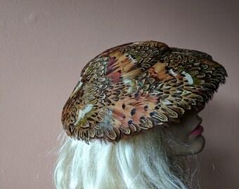 1940s Pheasant Feather Platter Hat