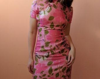 1950s Butterfly Pink Silk Shantung Cheongsam Wiggle Dress Small