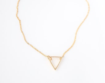 Gold Triangle Necklace - Geometric Minimal Modern Bridesmaid Gift Jewelry Good for the Soule Good for the Soule