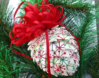 Fabric Pinecone Ornament - White with Art Deco Snowflakes - Stocking Stuffer, Co-Worker Gift, Ornament Exchange Gift
