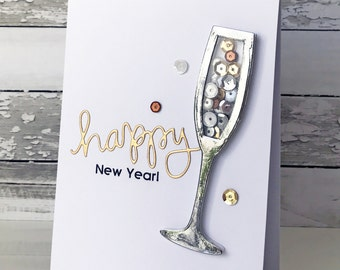 Happy New Year Champagne Shaker Card