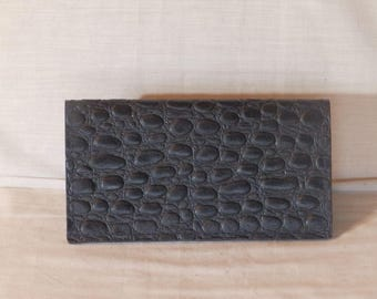 Leather Alligator print Handcrafted Checkbook Cover