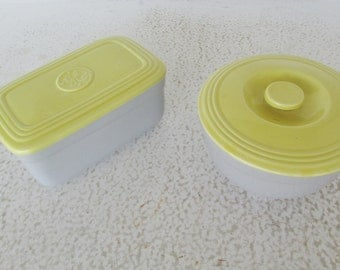 2 GE Refrigerator or Ovenware Dishes with Lid by Hall China Container General Electric Yellow