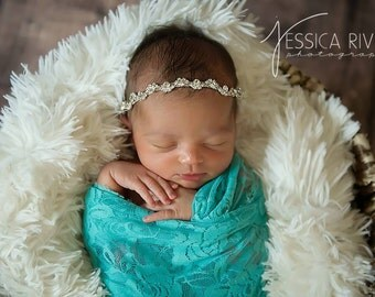 "Aqua stretch lace swaddle wrap (16 x 58"") AND/OR matching rhinestone headband for newborn photo shoots, stretch lace by Lil Miss Sweet Pea"