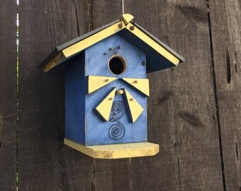 Beach Birdhouse Bungalow, Blue & Yellow, Bluebird Hanging Bird House, Decorative Rustic Birdhouses By Michele, Item #474358538