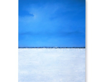 "LARGE PAINTING Original Art, 30 X 40 ""FROZEN"" Painted Sides Ready to Hang Abstract Snow Scene- Textured"